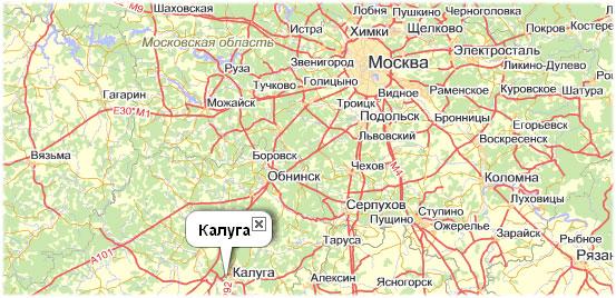 Карта проезда до Калуги